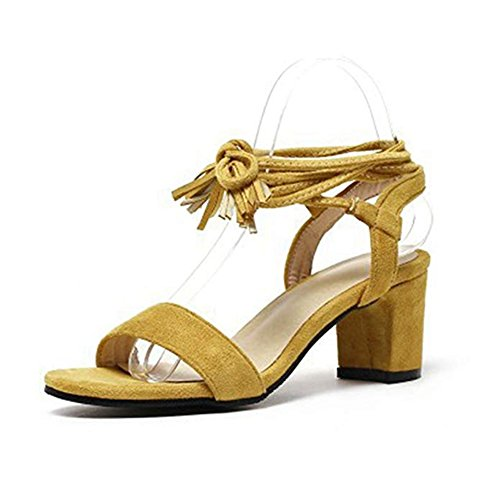 Open Tassels Chunky JULY Women's Yellow Wedding Pumps Block Ankle Heel Evening T Toe Shoes Strappy Suede Sandals Dress UfC70txqqw