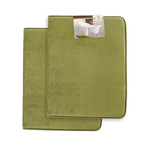 Clara Clark Memory Foam Bathrug 2 Pack Set - Sage (Green) - Bath Mat and Shower Rug Large 20