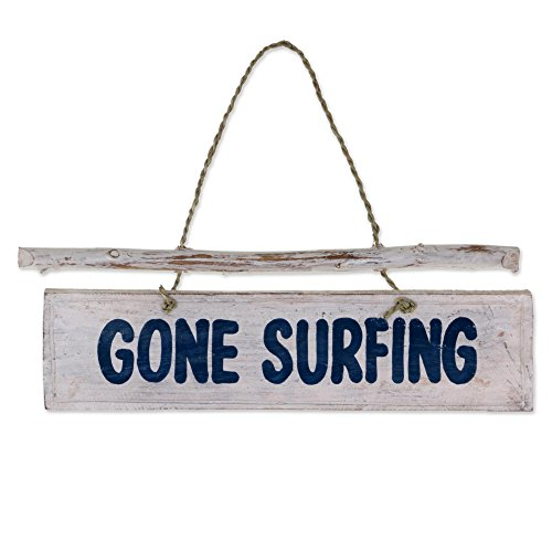NOVICA Hand Carved Albesia Wood Beach Cottage Nautical Garden Sign with Agel Grass Cord, 'Gone Surfing' (Nautical Gone Surfing Sign)