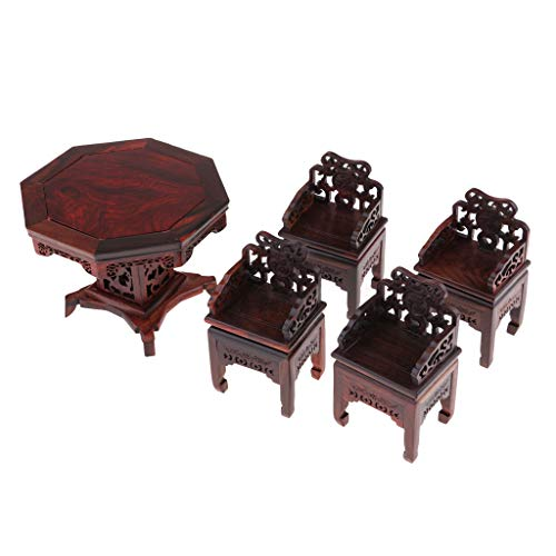 - Vintage Style Miniature Table and Chairs 5pcs Set (Rosewood), 1/12 Dollhouse Furniture and Accessories for Dining Room & Fairy Garden