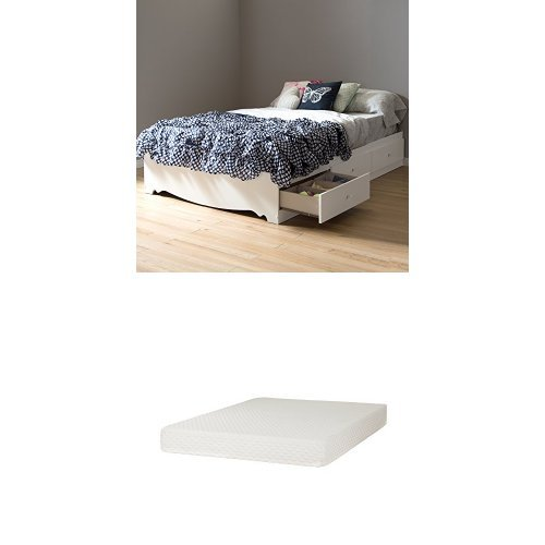 South Shore Crystal Full Mates Bed (54'') with 3 Drawers, Pure White, and Somea Full Mattress included