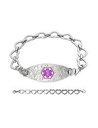 Divoti Custom Engraved Lovely Filigree Medical Alert Bracelet -Open Heart-Purple