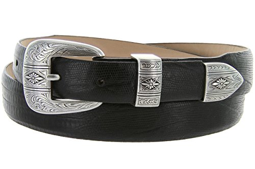 [Silver Mesa - Men's Italian Calfskin Designer Dress Golf Belt with Western Silver Plated Buckle Set (50 Lizard Black)] (Calfskin Belt Strap)