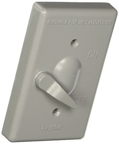 - TayMac TC100S Weatherproof Toggle Cover, 1-Gang, Vertical Device Mount, Gray