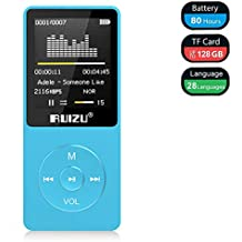 Mp3 Player, RUIZU X02 Ultra Slim Music Player FM Radio, Voice Recorder, Video Play, Text Reading, 80 Hours Playback Expandable Up to 128 GB (Blue)