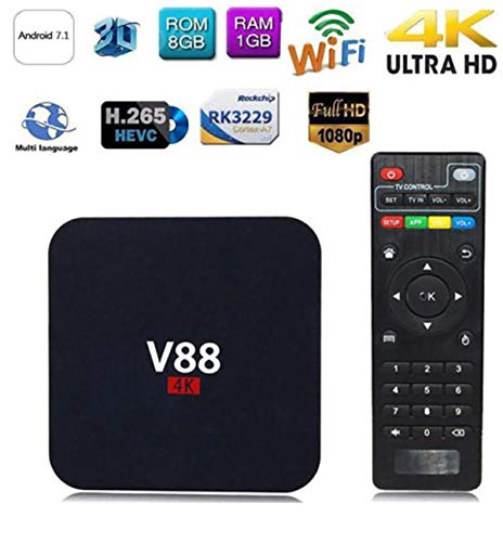 WXJHA Android 7.1 TV Box 1GB RAM 8G ROM Smart 4K Box RK3229 Quad Core 64 Bits Android Player 1080P 2.4G Wifi Support 3D…