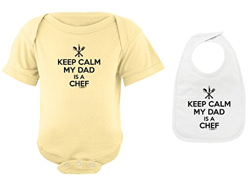 Toddler Clothes Keep Calm My Dad is a Chef Banana Bodysuit and White Bib Bundle 12 Months - Executive Barbecue Set