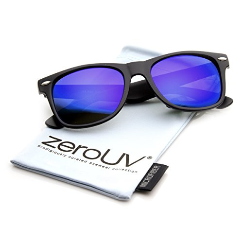 zeroUV ZV-8025l Retro Matte Black Horned Rim Flash Colored Lens Sunglasses, Black Purple, 50mm
