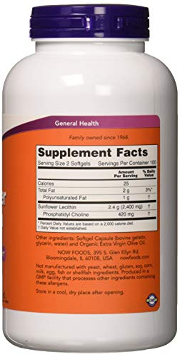 NOW Supplements, Sunflower Lecithin 1200 mg with Phosphatidyl Choline, 200 Softgels