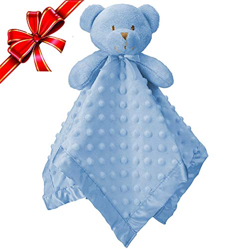 Pro Goleem Teddy Bear Baby Lovey Stuffed Plush Lovie/Security Blanket for Boys and Girls Minky Dot Best Gift for Newborn/Infant/Toddler (Blue, 15