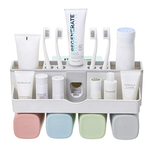 - Xultrashine Toothbrush Holder Wall Mounted Toothpaste Holder Bathroom Organizer for 4 Cups Holder Stand