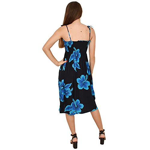 Blue CLOTHING Casual Dress Short Tube Hibiscus STYLE Hawaiian ISLAND Party Floral Ladies Black 5q475F