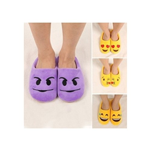 OULII Slippers Warm Winter Slippers Soft Plush Cute Indoor House Bedroom Shoes Anti Slip Slippers Purple CQVDG