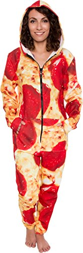 Hooded Pizza Jumpsuit - Adult Pepperoni Pizza Costume - Print Long Sleeve Zip Pajamas by Silver Lill - http://coolthings.us