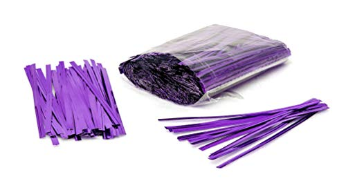 1000 Pack of Purple Twist Ties. 4 Inches Bag Ties by Amiff. Metallic Twist Ties for cellophane Bags, Food and Party Bags. Storage & Organization. Packing & Packaging. for Stores and Home.
