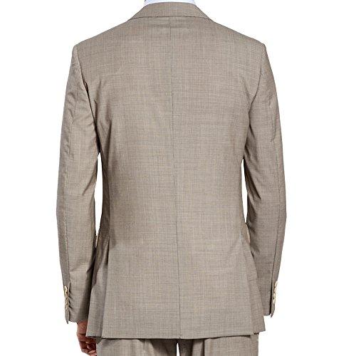 HBDesign Mens 2 Piece 2 Button Peak Lapel Business Formal Suits Light Khaki 48R by HBDesign (Image #1)