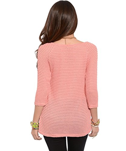 2LUV Women's Waffle Knit Quarter Sleeve Top Peach S(T9406AB)