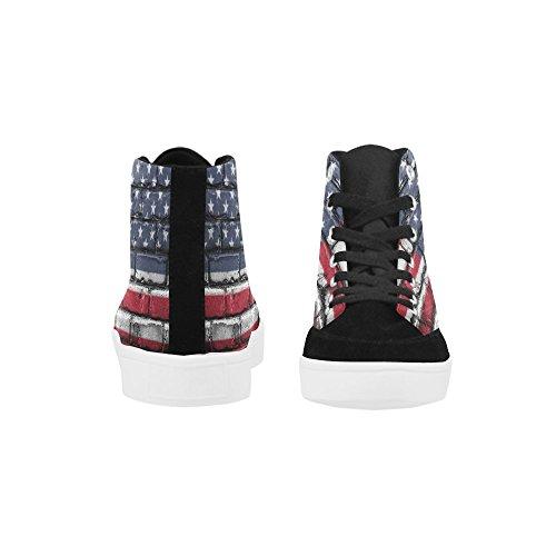 D-story Custom Bandiera Americana Da Muro Scarpe Alte Per Uomo Scarpe Di Tela Moda Sneaker