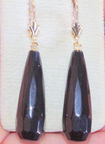 HANDMADE 14K LARGE BLACK FACETED ONYX ELONGATED TEAR DROP LEVER BACK EARRINGS
