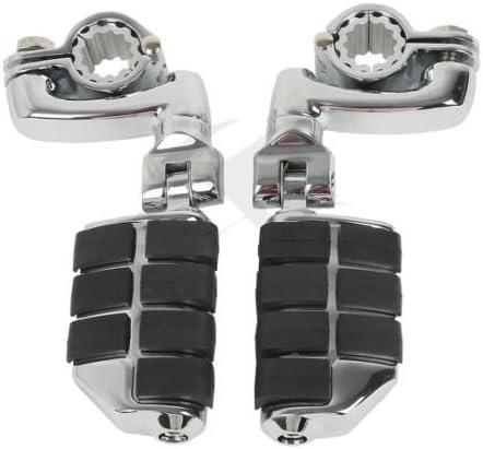 TCMT Universal 32mm Foot Pegs Mount Fits For Harley 1.25 Engine Guard Crash Highway Bar Black