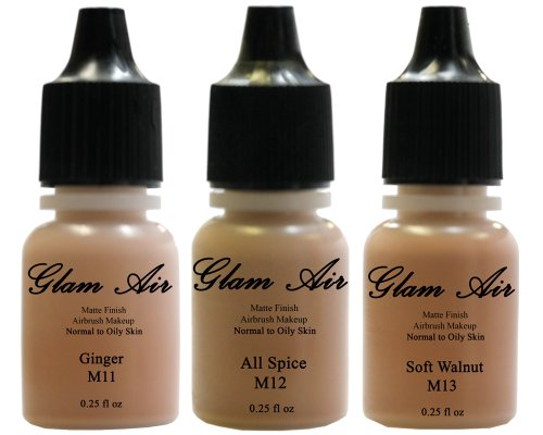 Glam Air Airbrush Water-based Foundation in Set of 3 Assorted Tan Matte Shades (For Normal to Oily Tan Skin)