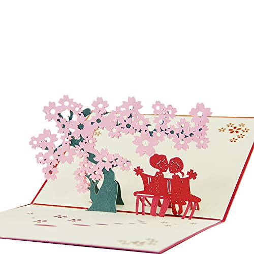Jerry & Maggie - Pop Up Greeting Card - Under Cherry Blossom Tree Card 3D Paper Greeting Thank You Card Laser Valentines Halloween Birthday Thanksgiving Couple For Kids Men Women