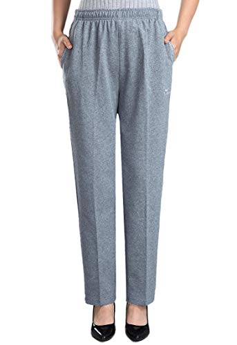 (Soojun Womens Stretch Knit Pants Pull On Pants with Elastic Waist, Light Grey, 10)