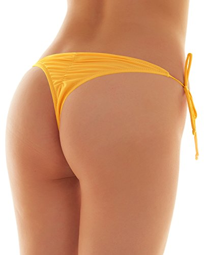 SHEKINI Womens Brazilian Low Rise Tie-Side Ruched Back Thong Bikini Bottom Swim Brief (Small/(US 4-6), Lily Yellow)