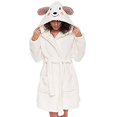 Women's Animal Hooded Robe - Plush Short Lamb Bathrobe by Silver Lilly