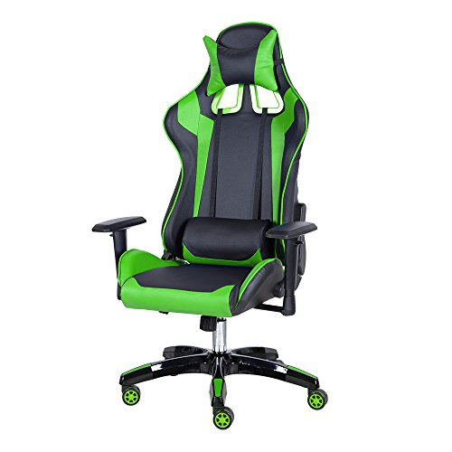 Gaming Chair, Ergonomic High-Back Racing Chair Premium PU Leather Bucket Desk Chair With Headrest and Lumbar Massage Support, Green Zenes
