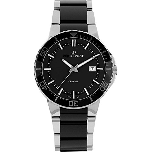 Pierre Petit Men's P-807A Serie Colmar Black Ceramic and Stainless-Steel Bracelet Watch