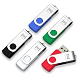 5 X mosDART 8GB USB 2.0 Flash Drive Swivel Thumb Drives Bulk Jump Drive Zip Drive Jump Drive Memory Stick with Led Indicator,Black/Blue/Red/White/Green(8GB,5pack Mix Color)
