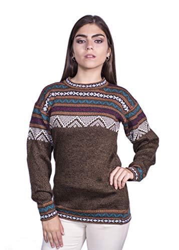 Raymis Peruvian Women´s Hand Knit Alpaca Cuzco Crew Neck Sweater (Brown, Large)