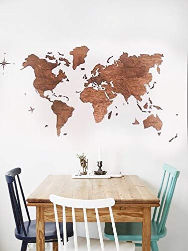 World Map Wood Cork Large Travel Wall Rustic Home decor Office design Dorm Living room Interior design Large 100x50cm, 150x90cm, 200x102cm