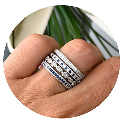 Engagement band 4 pcs stack stacking ring sets micro pave full stack ring,8,Platinum Plated