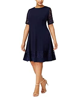 d777a5560db2 Jessica Howard Women's Plus Size Seamed Fit and Flare Dress with ...