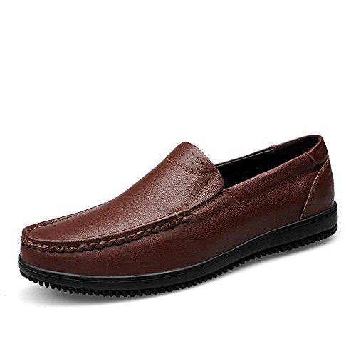 de conducción Loafer de sólido shoes Hongjun Hombres Talón los 2018 Estilo Mocasines Marrón Color en Mocasines para Hombre Resbalón del Plano Plano talón xpCZTaq