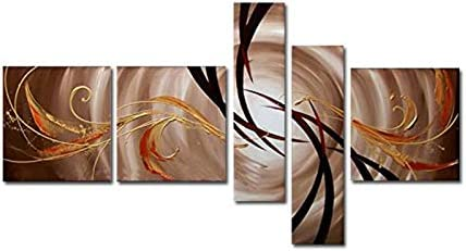 Wieco Art Abstract 100 Hand Painted Oil Paintings on Canvas Wall Art Ready to Hang for Living Room Kitchen Home Decor Large The Extension of The Universe Modern 5 Pcs Gallery Wrapped Grace Artwork