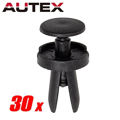 PartsSquare AUTEX 30pcs Nylon Bumper Clips Push-Type Retainer Fender Liner Fastener Rivet Auto Body Retainer Car Door Trim Panel Fastener Clamps Replacement for Chrysler/Dodge 6504521 ()