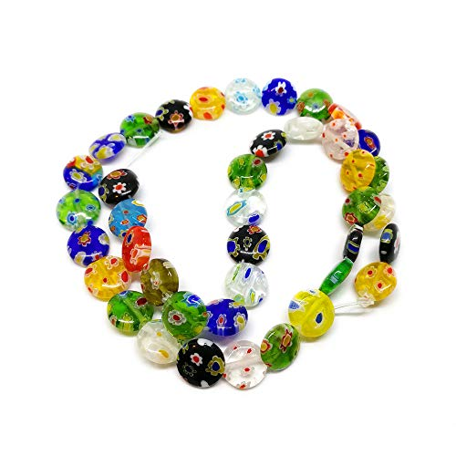 Beading Station 40-Piece Mix Millefiori Lampwork Glass Coin Beads, 10mm ()