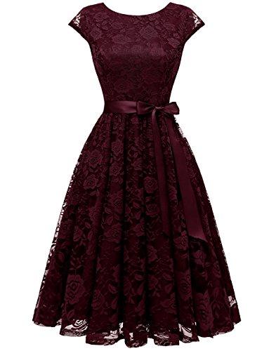 BeryLove Women's Floral Lace Short Bridesmaid Dress Cap-Sleeve Wedding Formal Party Dress BLP7016BurgundyS