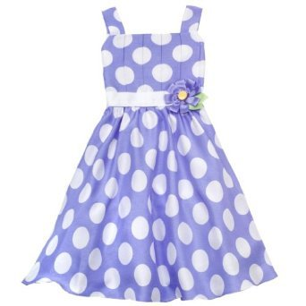 Rare Editions Periwinkle/ White Pleated Dot Dress (6 months)