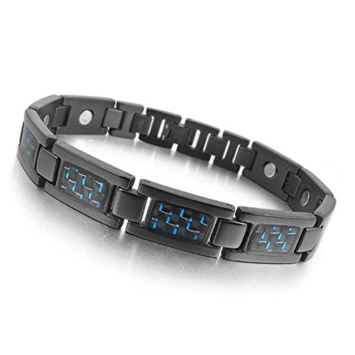 Gnzoe Men's 3000g Stainless Steel Carbon Fiber Bracelet Link Wrist Black Biker -