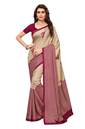Shonaya Women`S Party Wear Art Silk Printed Saree Sari (Maroon)