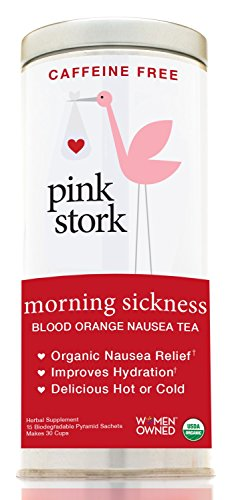 Pink Stork Morning Sickness Tea: Ginger Orange, USDA Organic Loose Leaf Herbs in Biodegradable Sachets, Morning Sickness, Nausea, Cramps, Indigestion Relief -30 Cups, Caffeine-Free