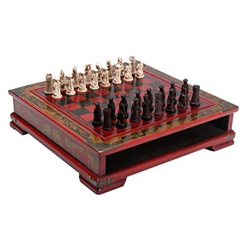 Toyvian Juego de ajedrez de Viaje de Madera Archaize Soldiers Tablero de ajedrez Juguetes educativos
