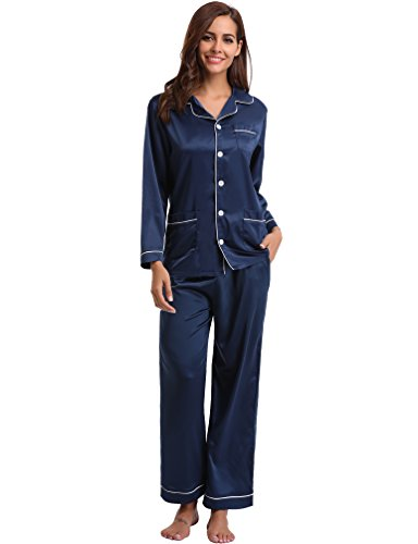 Pajamas Set Long Sleeve and Long Button-Down Sleepwear Loungewear (XXL, Navy) ()