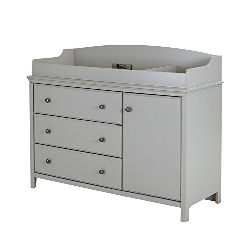 Transformation Station - South Shore Cotton Candy Changing Table with Removable Changing Station, Soft Gray