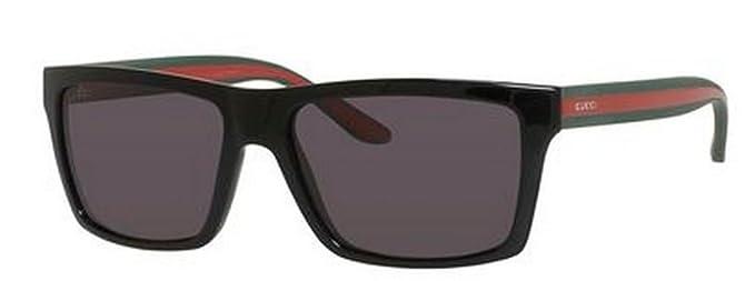 acc1113b3d Amazon.com  Gucci GG1013 S Sunglass-051N Shiny Black (3H Smoke Polarized  Lens)-56mm  Clothing
