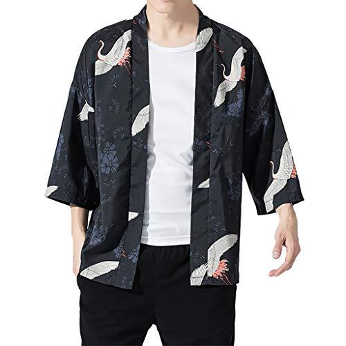 CCSDR Men's Cardigan National Crane Print Loose Jacket Japanese Hanfu Coat Baggy Tops Summer ()